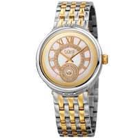 Burgi Women's Quartz Swarovski Crystal Stainless Steel Two-Tone Bracelet Watch