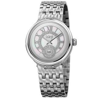Burgi Women's Quartz Swarovski Crystal Stainless Steel Silver-Tone Bracelet Watch