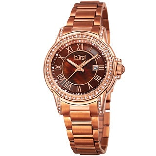 Burgi Women's Quartz Crystal Stainless Steel Rose-Tone Bracelet Watch with FREE Bangle