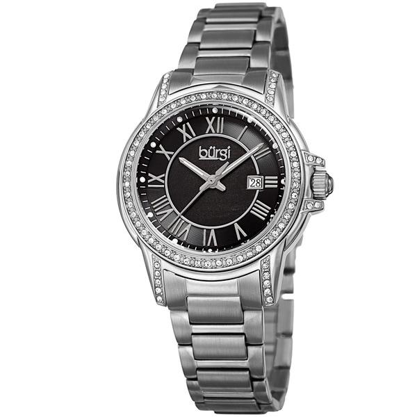 Burgi Women's Quartz Crystal Stainless Steel Silver-Tone Bracelet Watch