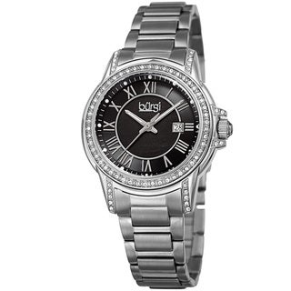 Burgi Women's Quartz Crystal Stainless Steel Silver-Tone Bracelet Watch