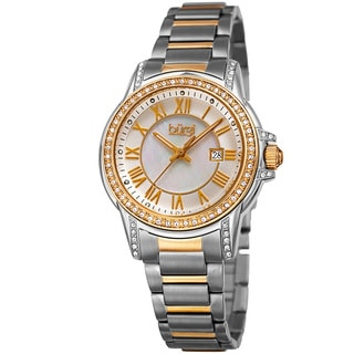 Burgi Women's Quartz Crystal Stainless Steel Two-Tone Bracelet Watch