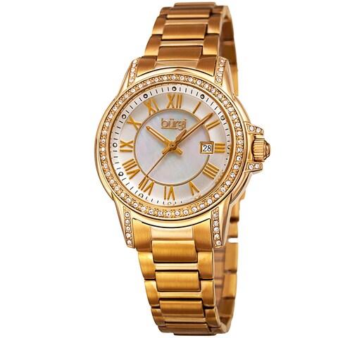 Burgi Women's Quartz Crystal Stainless Steel Gold-Tone Bracelet Watch