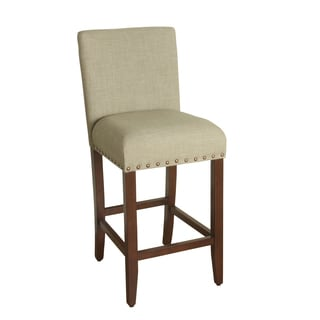 HomePop 29-inch Bar Height Sand Upholstered Barstool