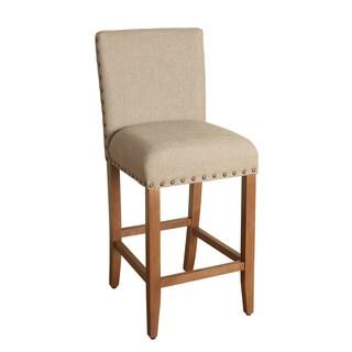HomePop 29-inch Bar Height Tan Upholstered Barstool