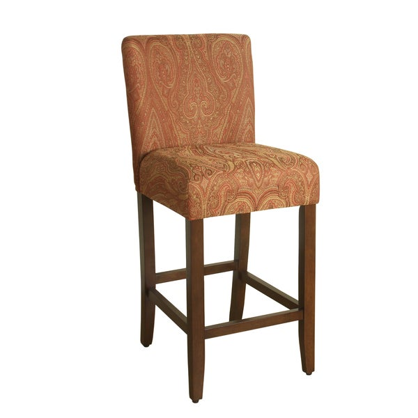 Homepop 29 Inch Bar Height Red Gold Damask Upholstered