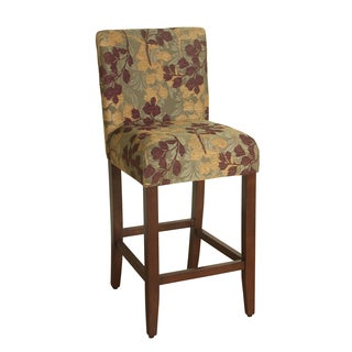 HomePop 29-inch Bar Height Tan Sage Leaf Upholstered Barstool