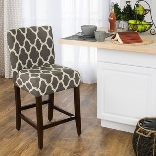 HomePop 24-inch Counter Height Geo Bright Warm Grey Upholstered Barstool