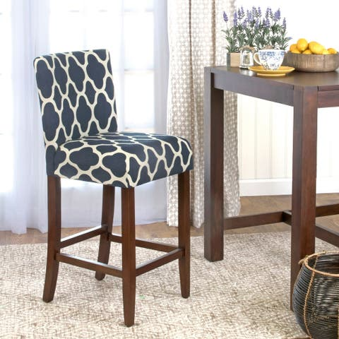 HomePop 29-inch Bar Height Geo Brights Navy Blue Upholstered Barstool - 24 inches