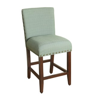 HomePop 24-inch Counter Height Seafoam Upholstered Barstool