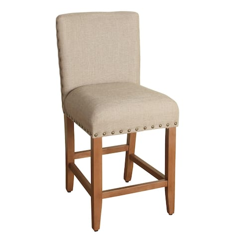 HomePop 24-inch Counter Height Tan Upholstered Barstool - 24 inches