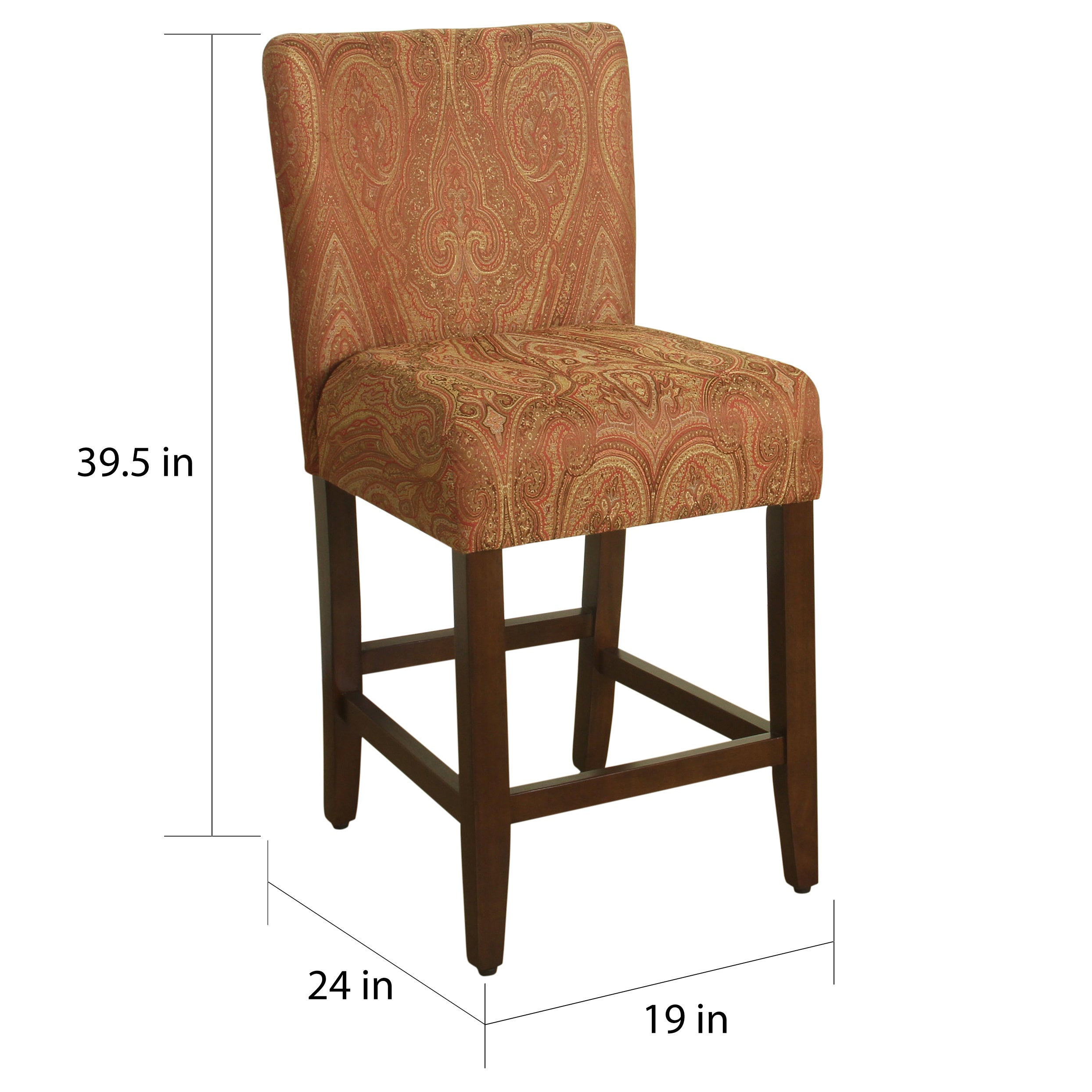 Enjoyable Homepop 24 Inch Counter Height Red Gold Damask Upholstered Barstool Gmtry Best Dining Table And Chair Ideas Images Gmtryco