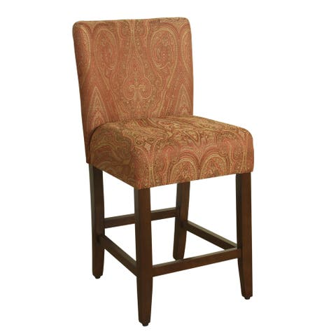 HomePop 24-inch Counter Height Red Gold Damask Upholstered Barstool - 24 inches