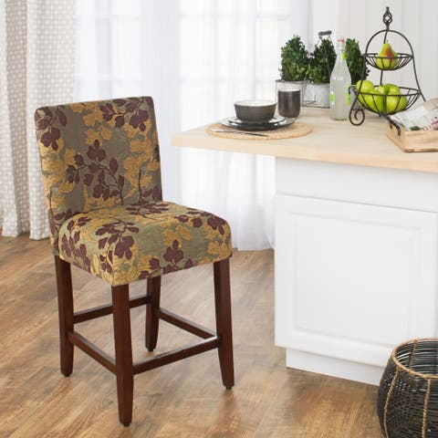 HomePop 24-inch Counter Height Tan Sage Leaf Upholstered Barstool - 24 inches - 24 inches