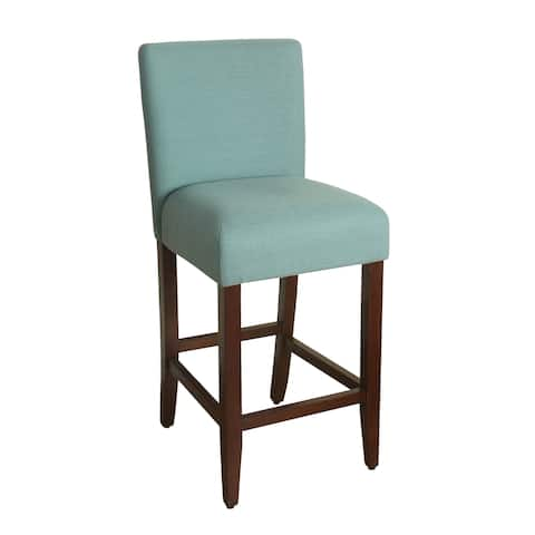 HomePop 29-inch Bar Height Textured Aqua Upholstered Barstool - 24 inches