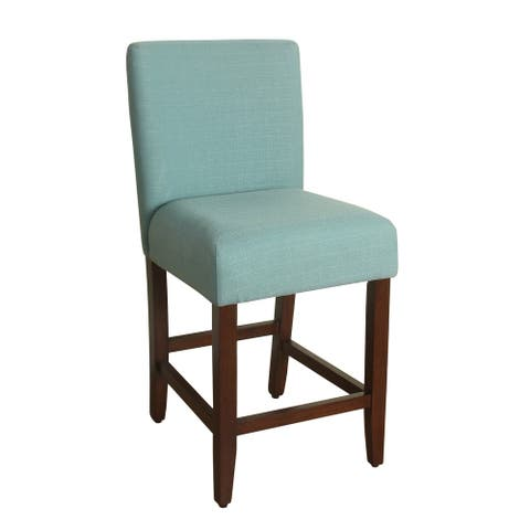 HomePop 24-inch Counter Height Textured Aqua Upholstered Barstool - 24 inches
