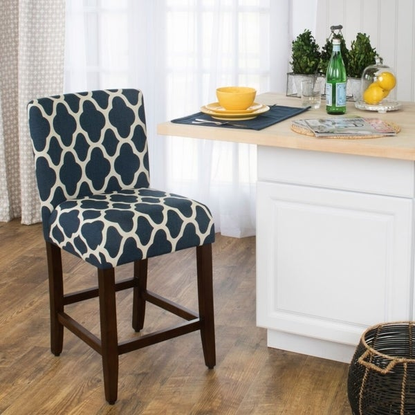 Shop Homepop 24 Inch Counter Height Geo Brights Navy Blue Upholstered Barstool On