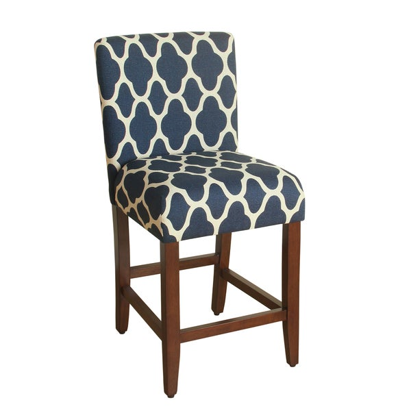 HomePop 24 Inch Counter Height Geo Brights Navy Blue Upholstered Barstool