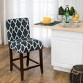 HomePop 24-inch Counter Height Geo Brights Navy Blue Upholstered Barstool