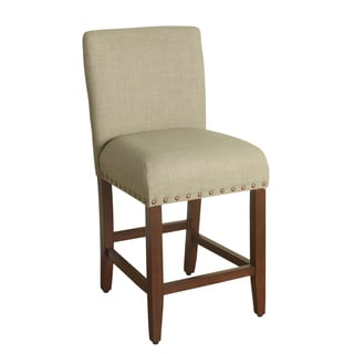 HomePop 24-inch Counter Height Sand Upholstered Barstool