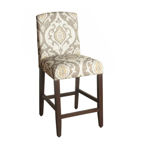 HomePop Suri Tan/Taupe/Cream Fabric 24-inch Counter-height Curved-top Barstool