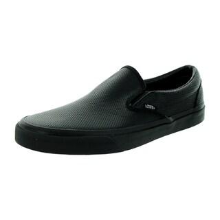 Vans Unisex Classic Slip-On (Perf Leather) Black/Black Skate Shoe