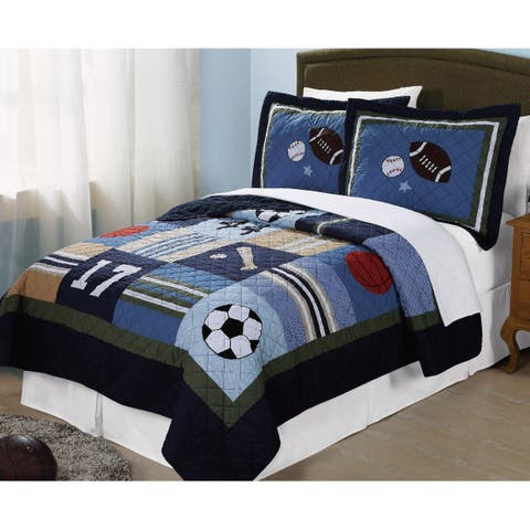 My World Blue All-State 3-piece Quilt Set