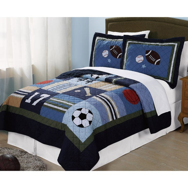 Laura Hart Kids Blue All-State 3-piece Quilt Set