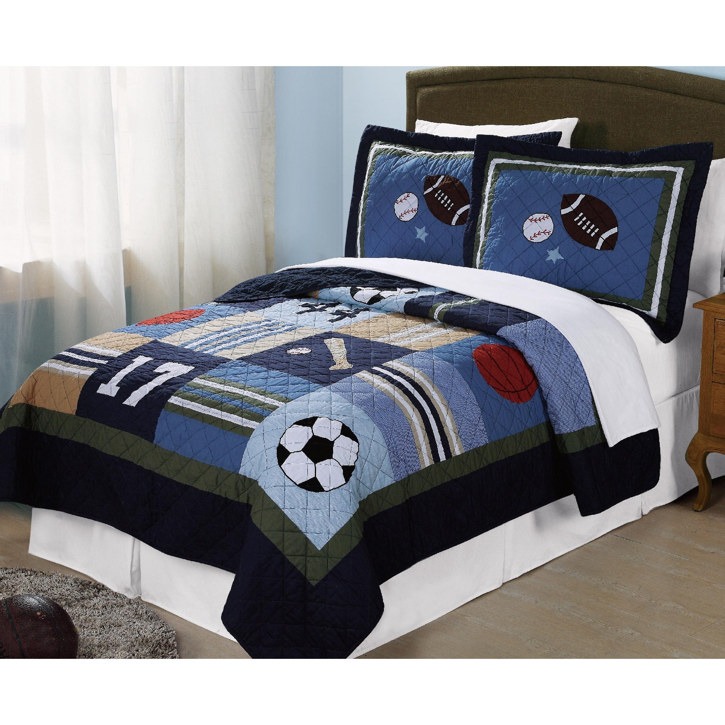 My World Blue All State 3 Piece Quilt Set Overstock 12136484