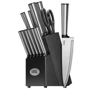 Ginsu Koden Series Stainless Steel 14-piece Knife Set with Black Block