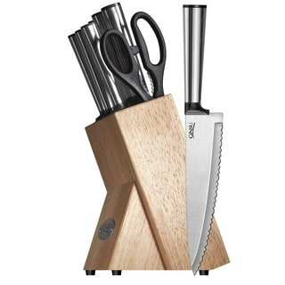 Ginsu Koden Series 8-piece Stainless Steel Knife Set with Natural Storage Block