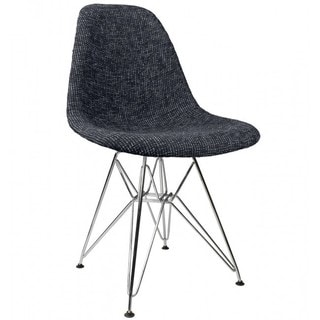 Woolen Fabric Style Dining Chair with Steel Eiffel Legs