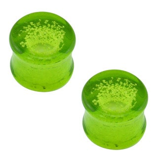 Supreme Jewelry Green Glow in the Dark Glass Plug Earrings