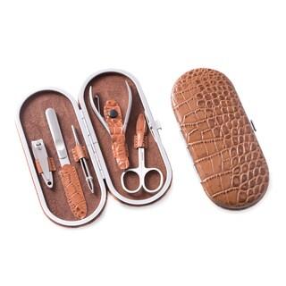 Bey Berk Brown Leather Crocodile Embossed Pattern 5-piece Manicure Set