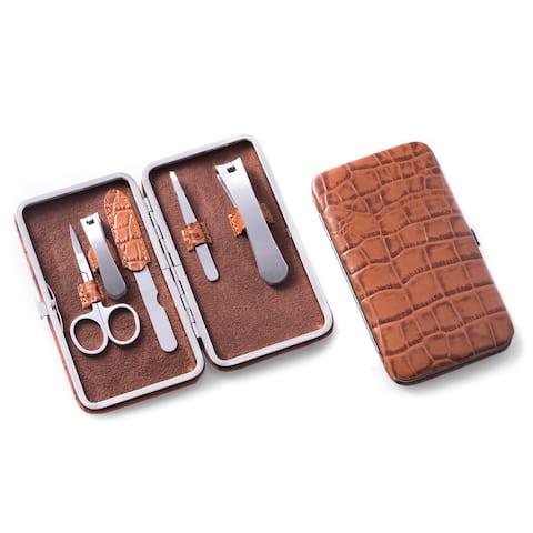 Brown Leather Crocodile Print 5-piece Manicure Set