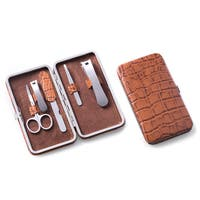 Brown Leather Crocodile Print 5-piece Manicure Set