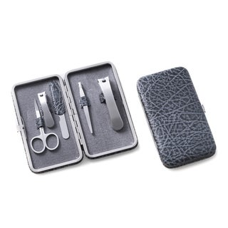 Grey Leather 5-piece Manicure Set