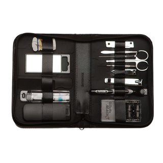 Black Leather 14-piece Grooming Set