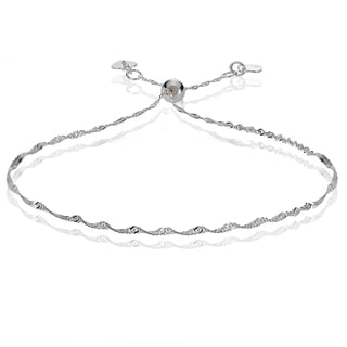 Mondevio 14k White Gold 1.4mm Singapore Adjustable Italian Chain Bracelet, 7-9 Inches
