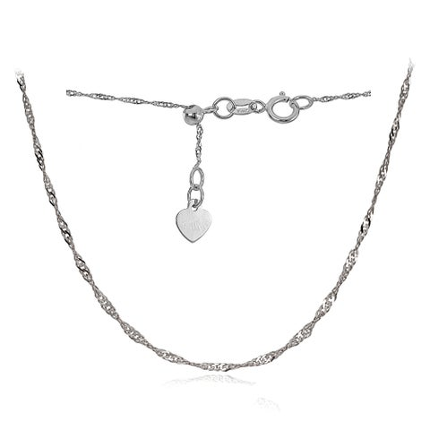 Mondevio 14k White Gold 1.4mm Singapore Adjustable Italian Chain Necklace, 14-20 Inches