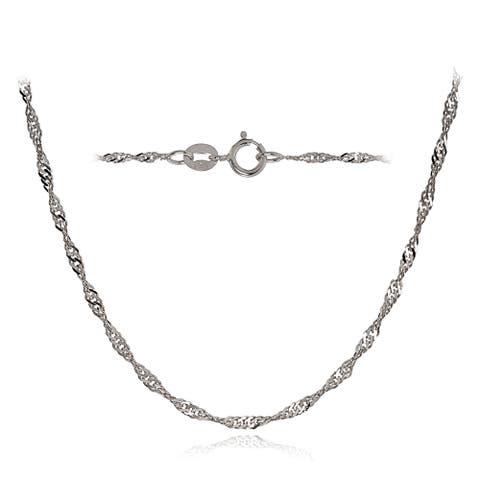 Mondevio 14k White Gold 1.4mm Singapore Italian Chain Necklace, 16 Inches