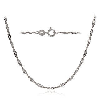 Mondevio 14k White Gold 1.4mm Singapore Italian Chain Necklace, 16 Inches