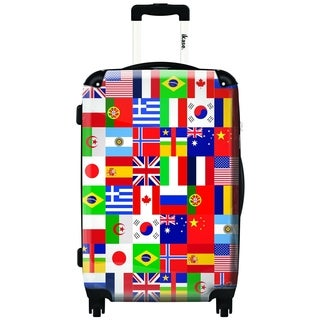iKase International Flags Multicolor ,Carry-on 20-inch,Hardside, Spinner Suitcase