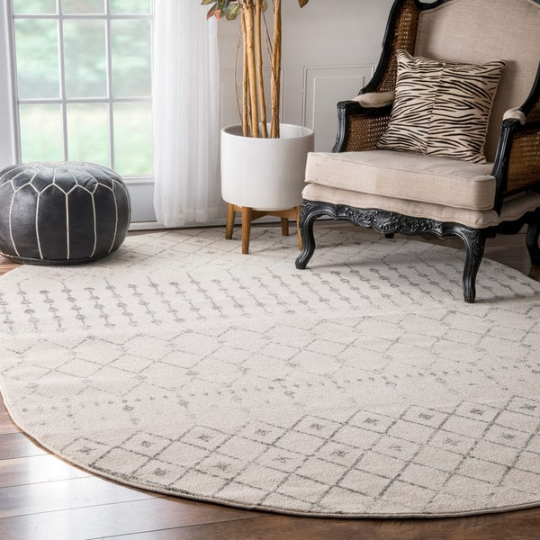 The Curated Nomad Ashbury Moroccan Grey Rug (6'7 x 9' Oval)