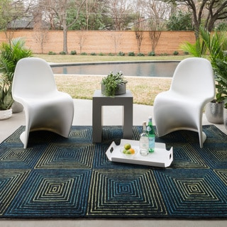 Indoor/ Outdoor Hand-hooked Somerset Geometric Multi Rug (5'0 x 7'6)
