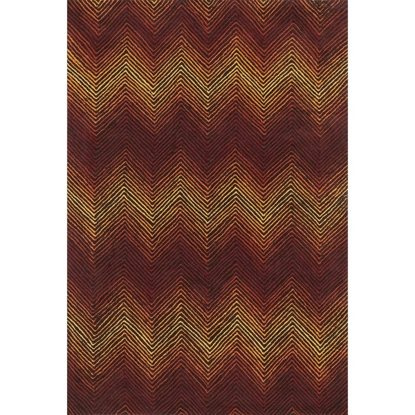 "Indoor/ Outdoor Hand-hooked Somerset Chevron Brown/ Spice Rug - 7'9"" x 9'9"""