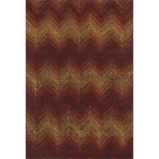 Indoor/ Outdoor Hand-hooked Somerset Chevron Brown/ Spice Rug (7'9 x 9'9)