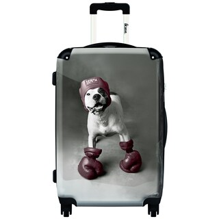 iKase 'Boxing Dog' Multicolored Hardsided 20-inch Carry-on Spinner Suitcase