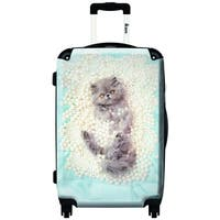 iKase 'Pearl White Cat'  ,Carry-on 20-inch,Hardside, Spinner Suitcase