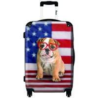 iKase 'American Dog Flag',Carry-on 20-inch,Hardside, Spinner Suitcase